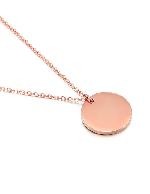 Fashion Rose Gold Stainless Steel Geometric Round Gold-plated Necklace