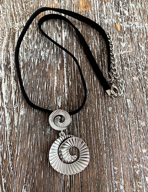 Silver Frosted Alloy Spiral Necklace