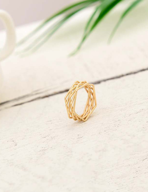 Fashion Bright Gold Braided Ring Alloy Crown Ring
