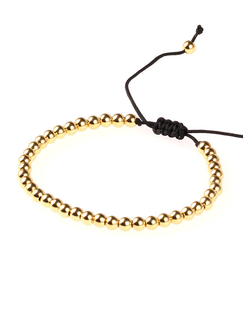 Fashion Gold Solid Copper Beads Adjustable Braided Bracelet