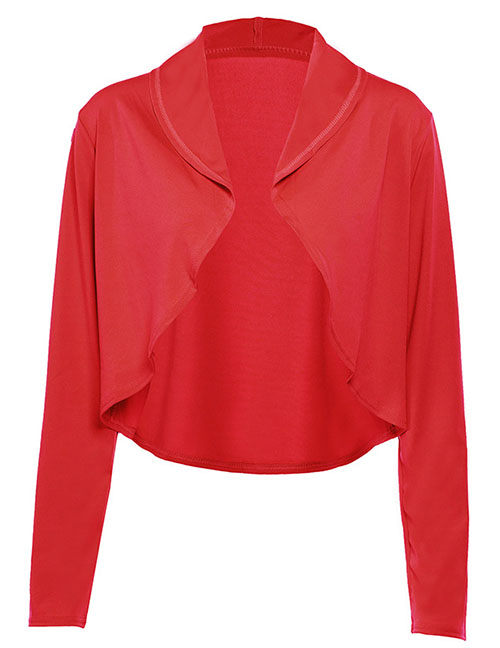 Fashion Red Solid Color Lapel Cut-off Cardigan