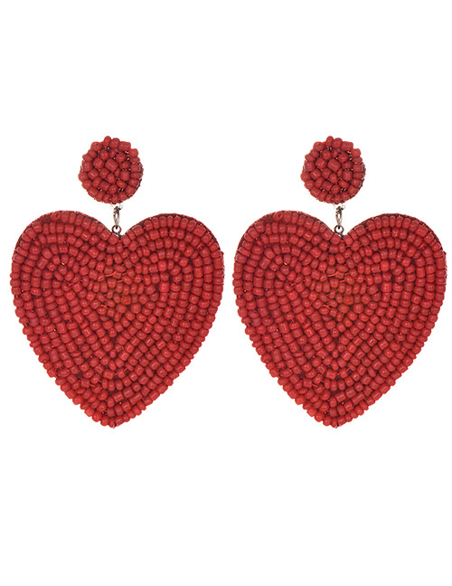 Fashion Red Felt Cloth Rice Beads Love Earrings