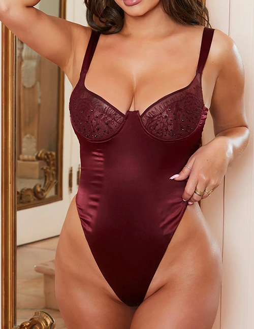 Fashion Red Wine Lace Bright Diamond Sexy Lingerie Sling Jumpsuit