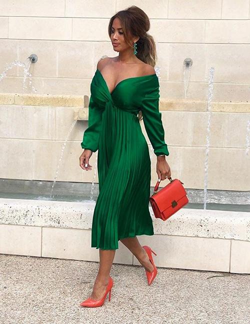Fashion Dark Green V-neck Pleated Pleated Dress