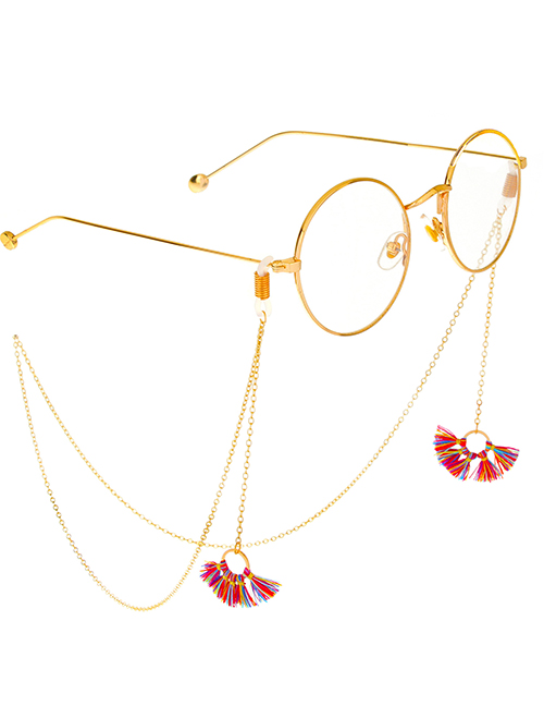 Fashion Gold Metal Fringed Fan-shaped Glasses Chain