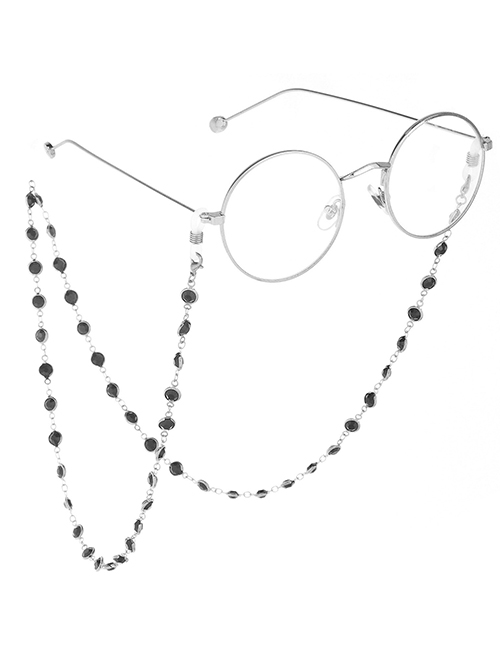 Fashion Silver With Black Transparent Glass Bead Chain