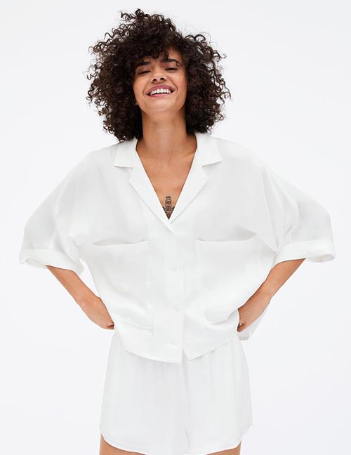 Fashion White Pocket Drape Shirt