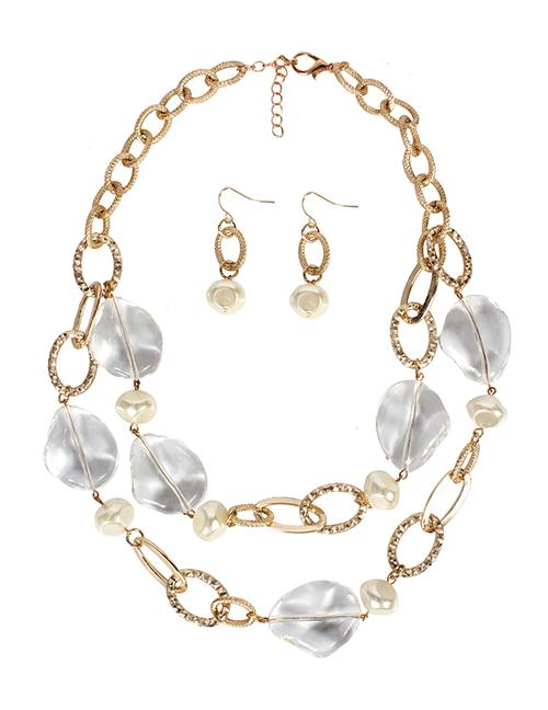 Fashion Gold Shaped Acrylic Imitation Pearl Multilayer Necklace