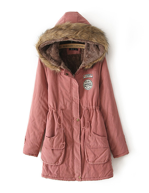 Fashion Dark Pink Thick Hooded Long Suede Lamb Wool Coat