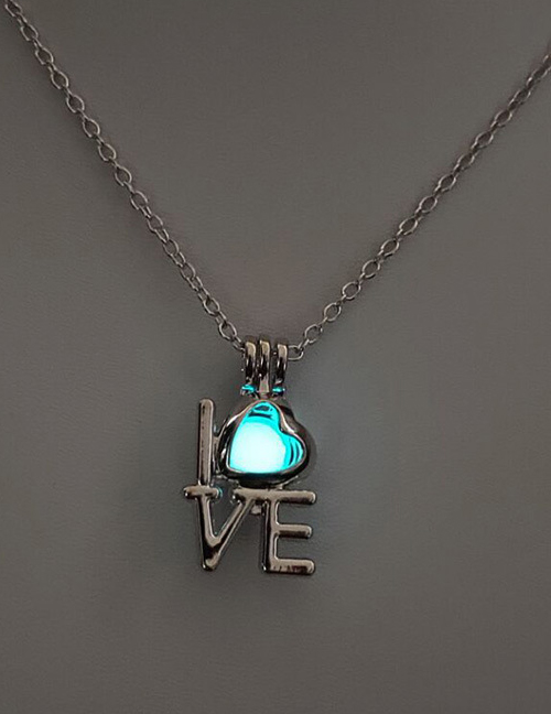 Fashion Blue Green Love Hollow Fluorescent Necklace