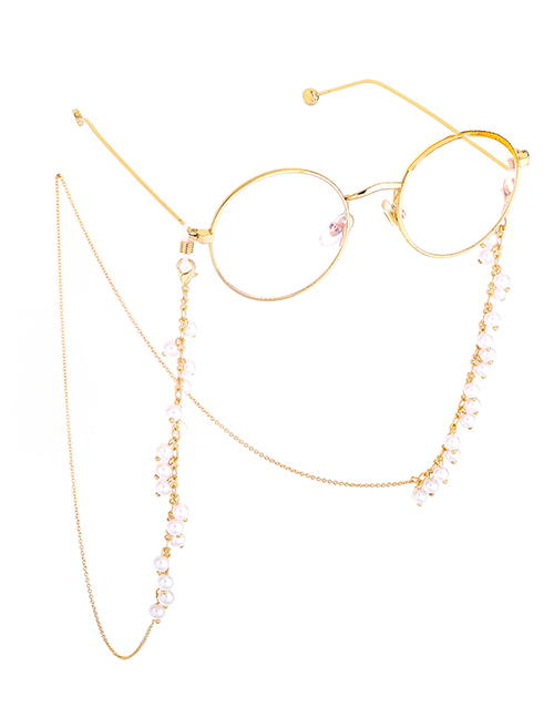 Fashion Gold Fringed 6mm Large Pearl Glasses Chain