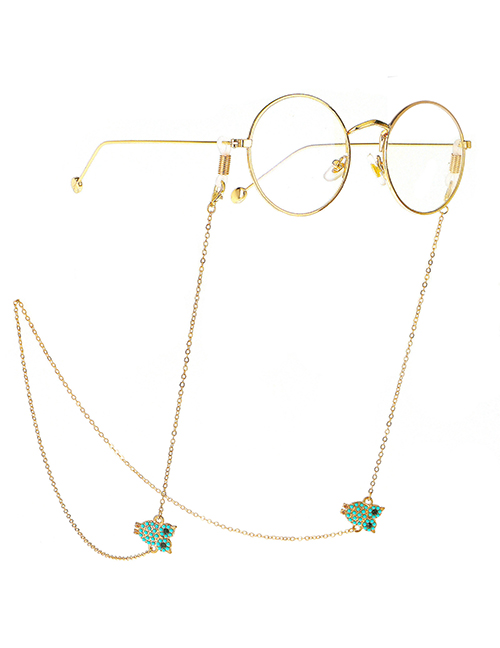Fashion Gold Real Gold Plated Non-slip Meter Beads Owl Glasses Chain