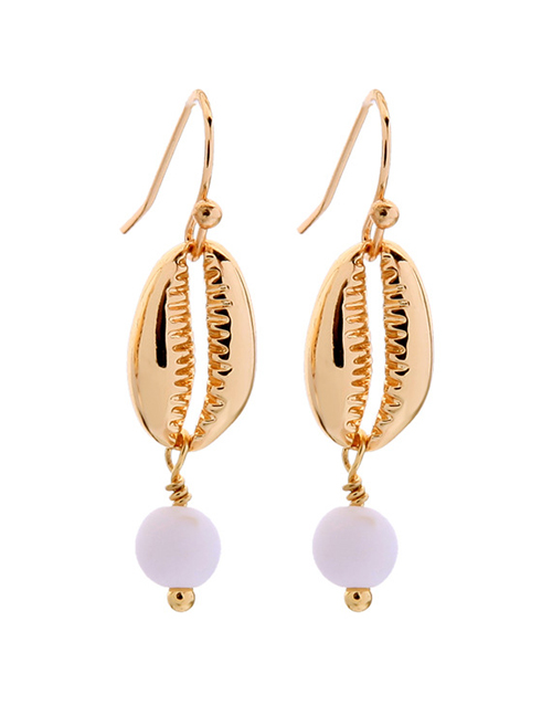 Fashion Gold Shell Embossed Earrings