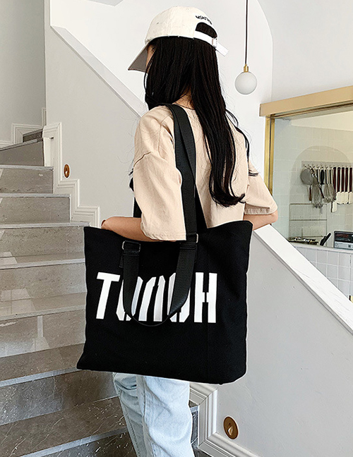 Fashion Black Letter Printed Shoulder Bag