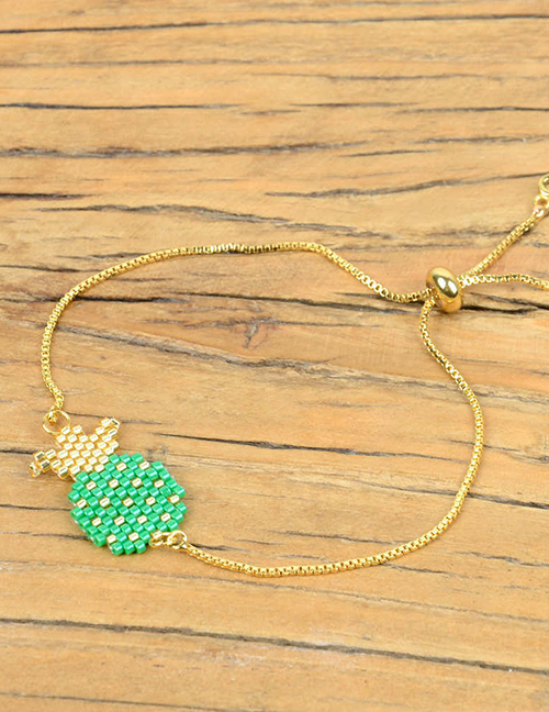 Fashion Green Shell Pineapple Rice Beads Woven Bracelet