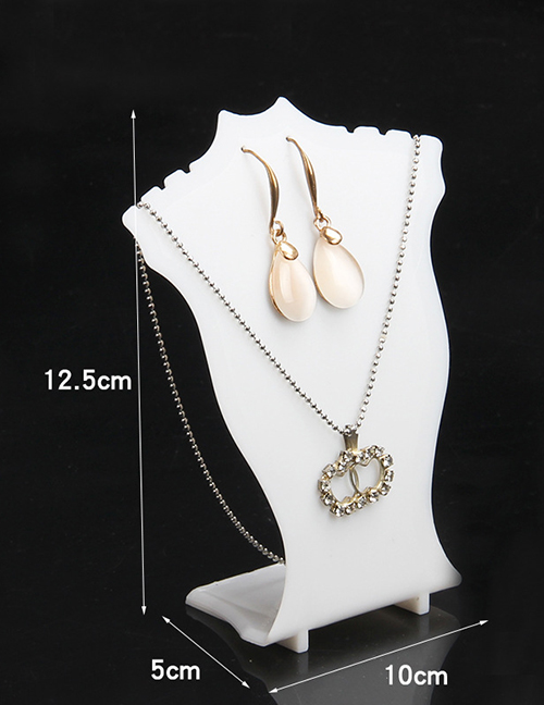 Fashion Small Plastic Neck Frame - White Transparent Acrylic Necklace Display Stand