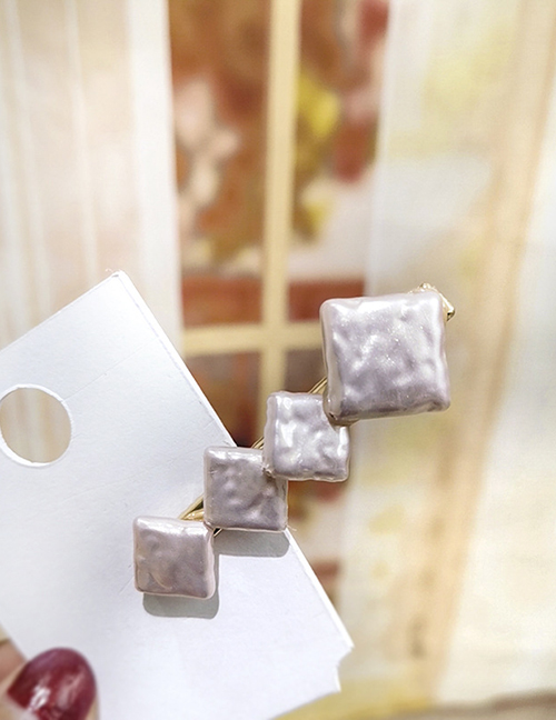 Fashion Pink Square Duckbill Clip Geometric Round Square Hair Clip
