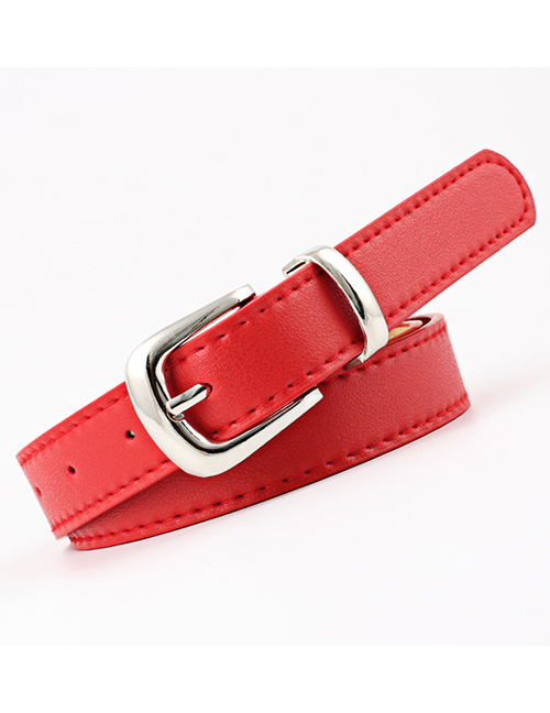 Fashion Silver Buckle + Red Dark Buckle Multicolor Belt