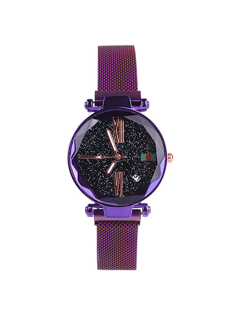 Fashion Purple Tape Watch Starry Sky Watch  Electronic Element