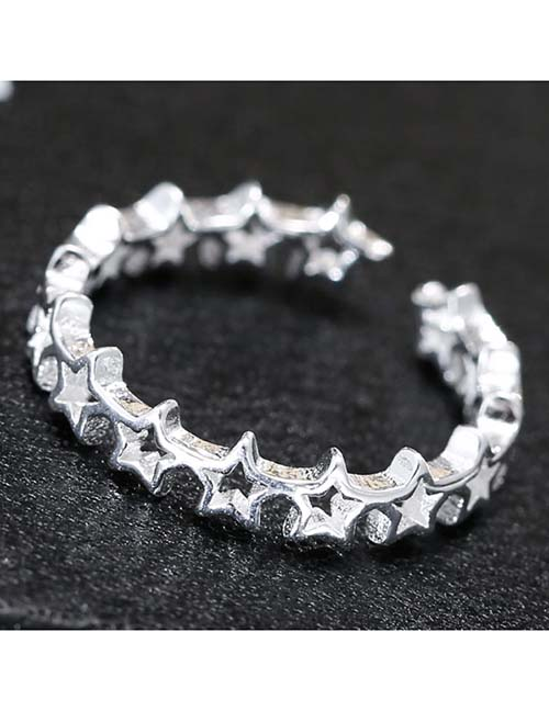 Fashion White K Hollow Five-pointed Star Open Ring