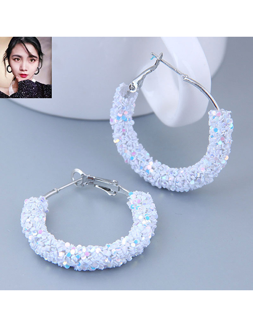 Fashion White Sequin Ear Studs
