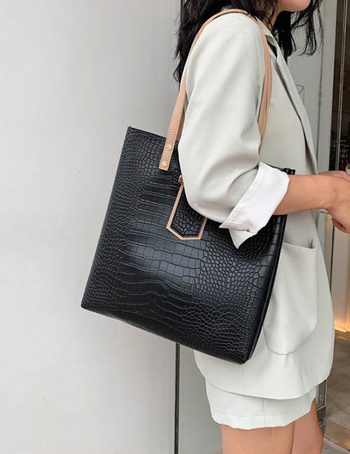 Fashion Black Stone Pattern Portable Slung Shoulder Bag
