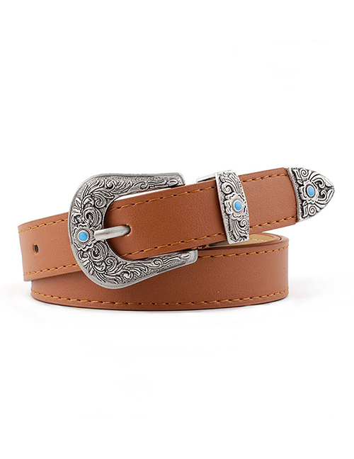 Fashion Camel Metal Carved Buckle Belt