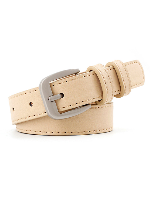 Fashion Beige Alloy Buckle Thin Belt