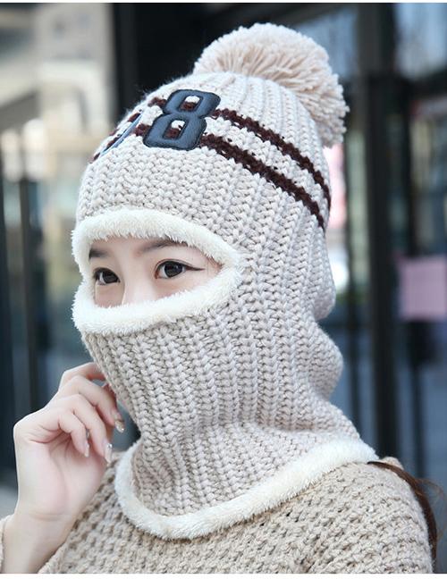 Fashion Beige Plush Wool Cap