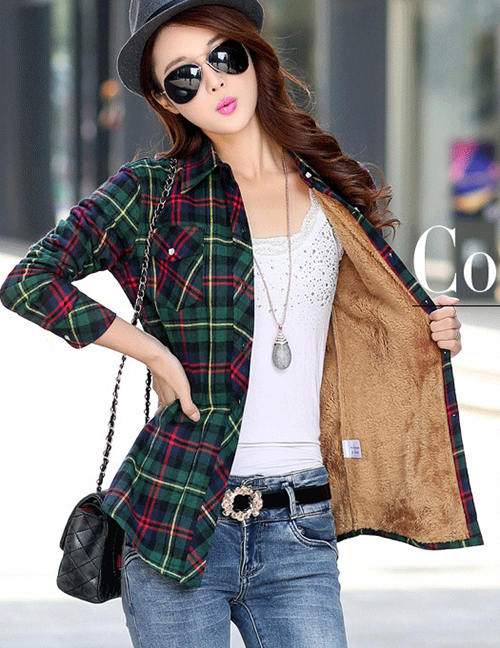 Fashion Green Red Plus Velvet Padded Plaid Shirt