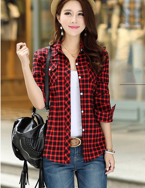 Fashion Red Black Plus Velvet Padded Plaid Shirt
