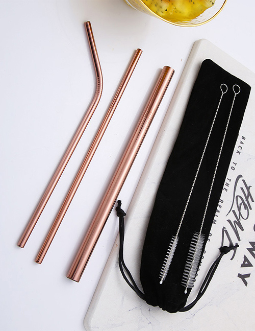 Fashion Rose Gold Tube Size Brush Black Velvet Bag Set Of 6 304 Stainless Steel Straw Set (20 Pieces)