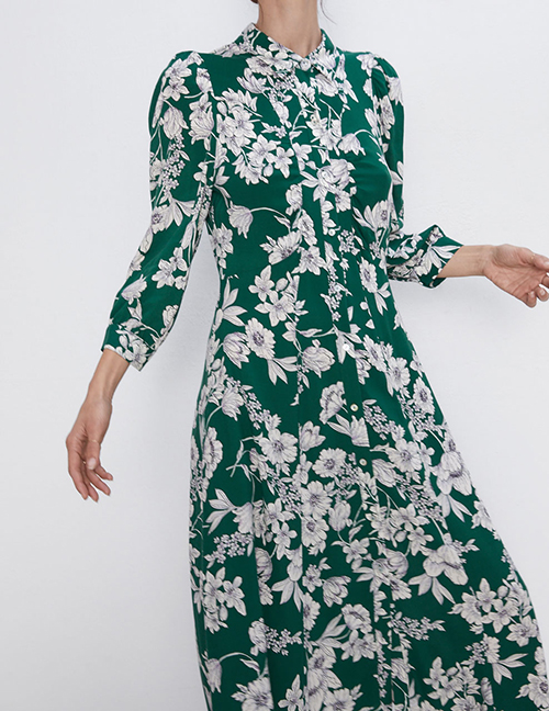 Fashion Green Printed Shirt Dress