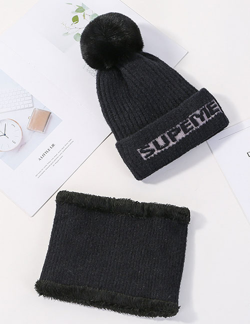 Fashion Black Letter Knit Wool Hat Bib Two-piece