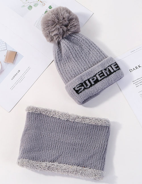 Fashion Gray Letter Knit Wool Hat Bib Two-piece