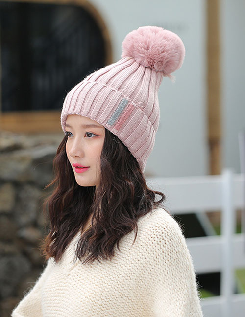 Fashion Light Pink Contrast Striped Knit Wool Hat