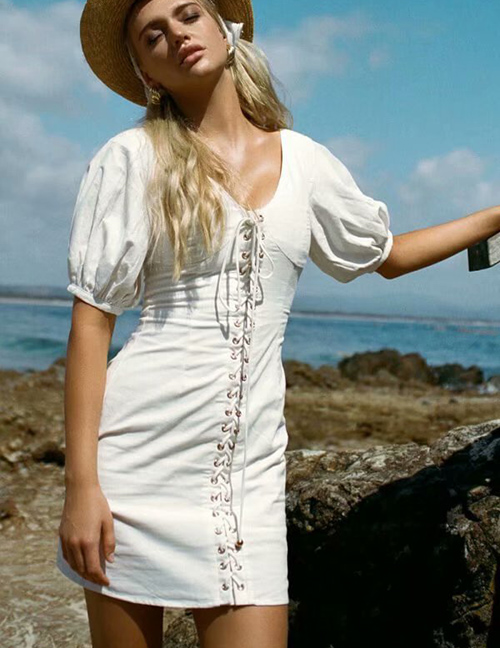 Fashion White Solid Color V-neck Strap Short Sleeve Stitching Dress