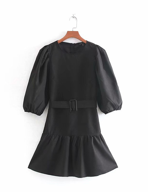 Fashion Black Solid Color Belted Round Neck Pullover Dress