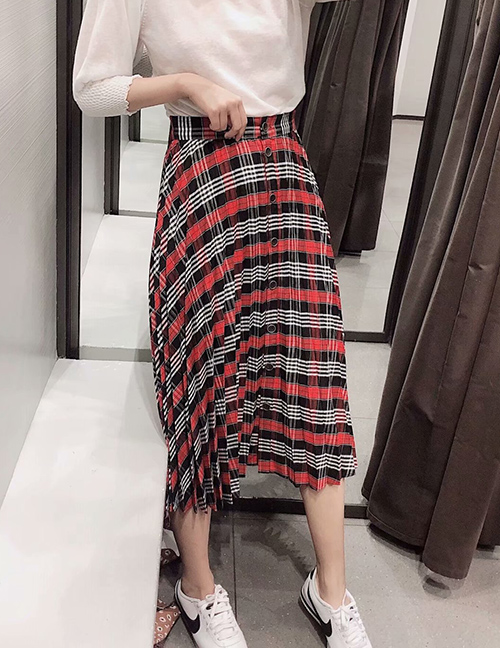 Fashion Red Plaid Plaid Printed Pleated Single-breasted Skirt