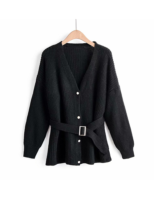 Fashion Black Solid Color Single-breasted Belt Stitching Sweater