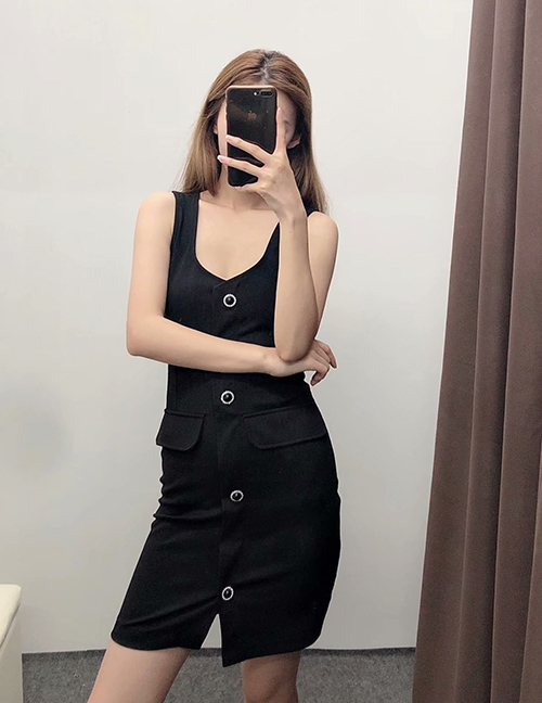 Fashion Black Solid Color Jewelry Button Single-breasted Sleeveless Dress