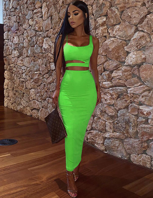 Fashion Green Sling Round Neck Hollow Short Vest High Waist Skirt Suit