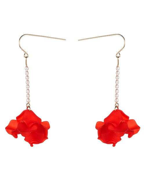Fashion Red Multi-layer Resin Flower Pearl Earrings