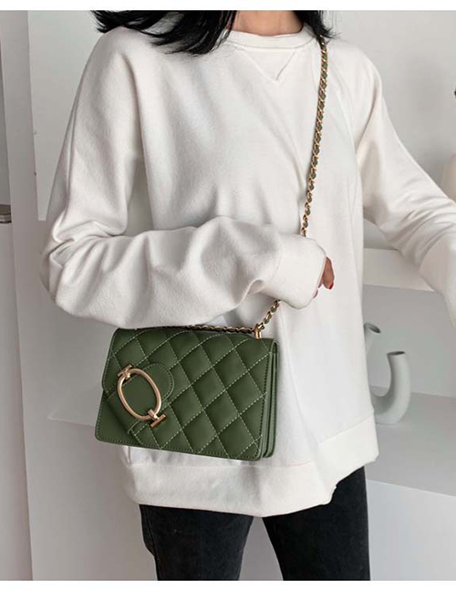 Fashion Matcha Green Chain Rhombic Embroidery Shoulder Bag