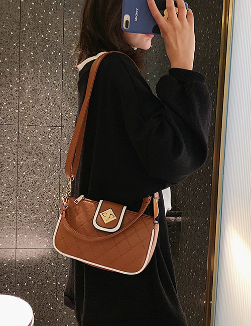 Fashion Brown Lingge Embroidery Thread Shoulder Bag