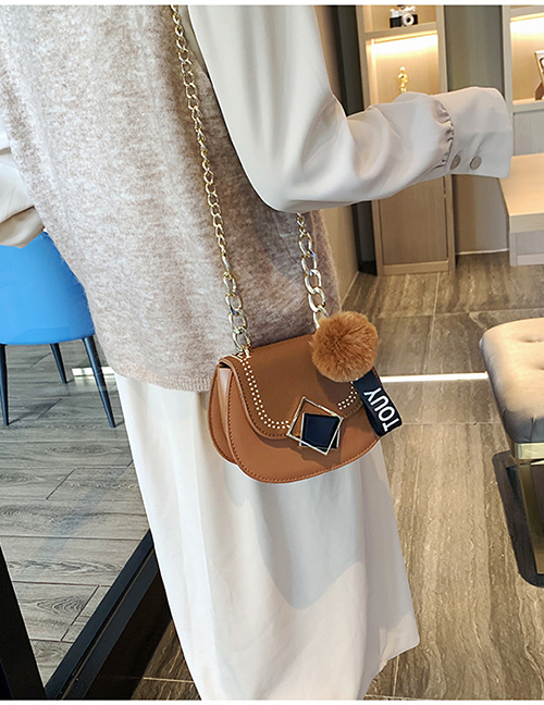 Fashion Brown Frosted Wool Ball Chain Shoulder Messenger Bag