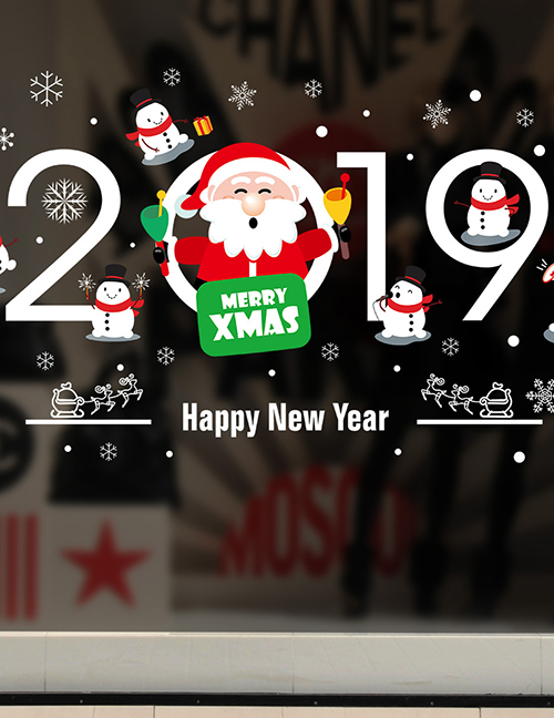 Fashion Color Xh6250 Santa Claus Wall Sticker
