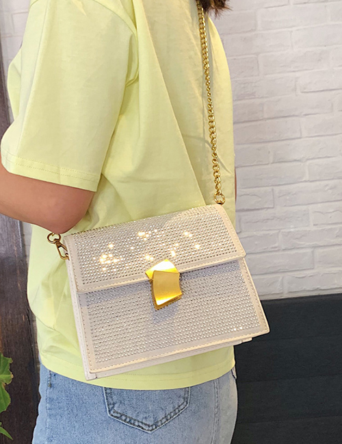 Fashion White Hot Diamonding Chain Messenger Bag