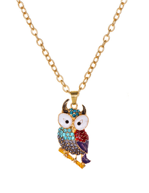 Fashion Purple Alloy Diamond Owl Necklace