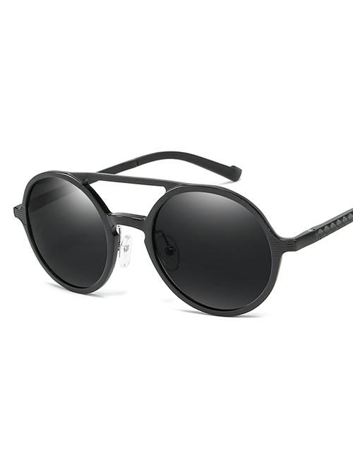 Fashion Black Frame Black Gray Round Polarized Aluminum-magnesium Sunglasses